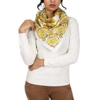 Versace White/Gold Creponne Chain Print Silk Foulard Scarf