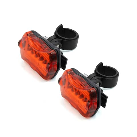2 Pcs 7 Modes 5 Red LED Bike Bicycle Safety Rear Tail light Lamp with Bracket - Black,Red