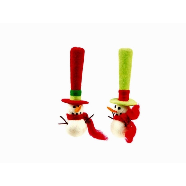 """Pack of 8 Christmas Whimsy Red and Green Felt Snowman with Tall Hat Ornaments 8"""""""