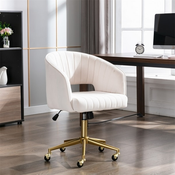 Upholstered Home Office Desk Modern Swivel Accent Chair - N/A. Opens flyout.