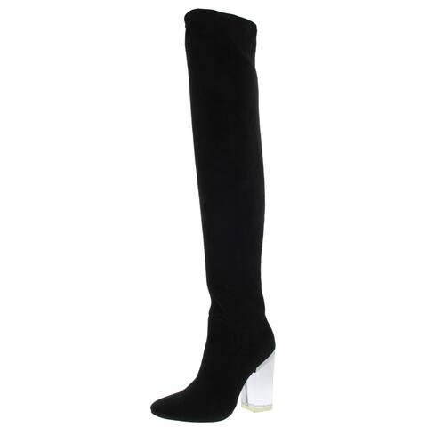 Steve Madden Womens Hot Girl Thigh-High Boots Faux Suede Lucite Heel