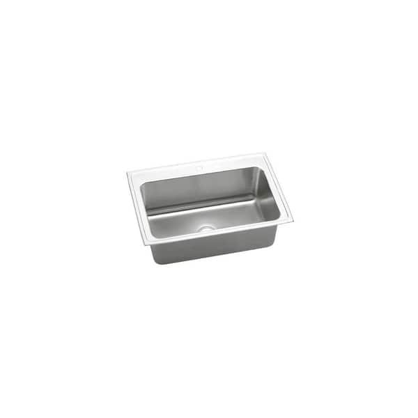 Shop Elkay Dlrs332210 Lustertone Stainless Steel 33 X 22 Single Basin Top Mount Kitchen Sink With 10 1 8 Bowl Depth Overstock 17772467