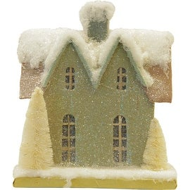 """8.75"""" Snow Covered House with White Trees Christmas Tabletop Decoration"""