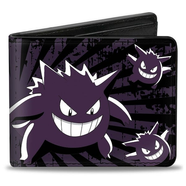 Gengar Scattered Poses Rays Weathered Black Purple White Bi Fold Wallet - One Size Fits most