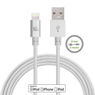 LAX Apple MFi Certified Lightning to USB Cable for Charge & Sync 10ft for iPhone X 8 7 6 6S SE 5 and iPad Pro Air Mini 2 3 4