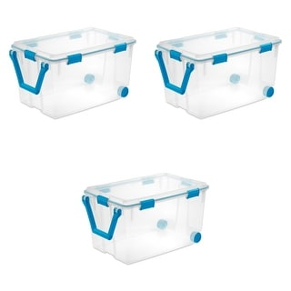 Link to STERILITE 120 Quart Wheeled Gasket Storage Boxes, Clear - Case of 3 Similar Items in Filing Storage & Accessories