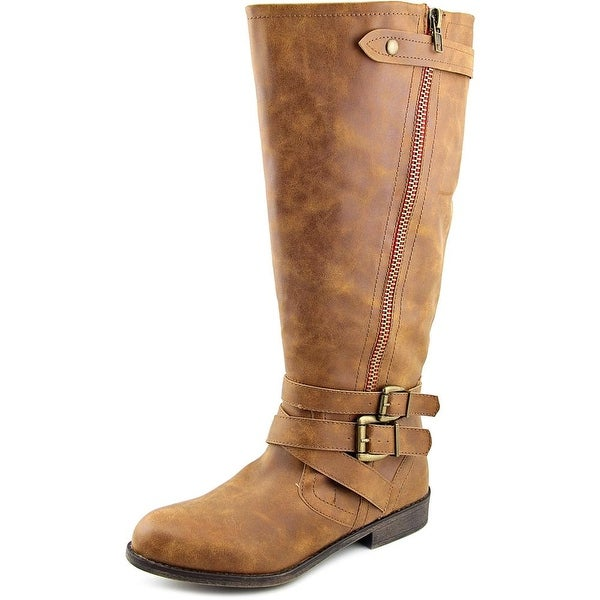 Madden Girl Cristy 2 Wide Calf Women Round Toe Synthetic Brown Knee High Boot