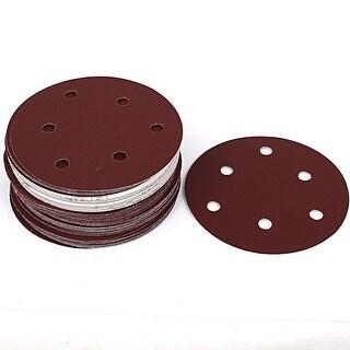 """Unique Bargains 5"""" Dia 400 Grit 6 Holes Self Stick Sanding Paper Discs Brown 50 Pcs"""