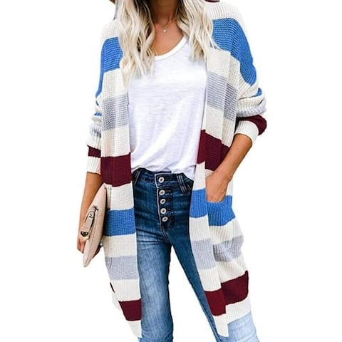 Womens Sweaters Color Block Striped Draped Cardigan With Pockets Long Sleeve Open Front Casual Knit Sweaters Coat