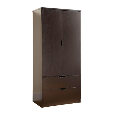 Porch & Den Gramercy Spacious Brown Two Door Wardrobe w/ Hanging Clothing Storage