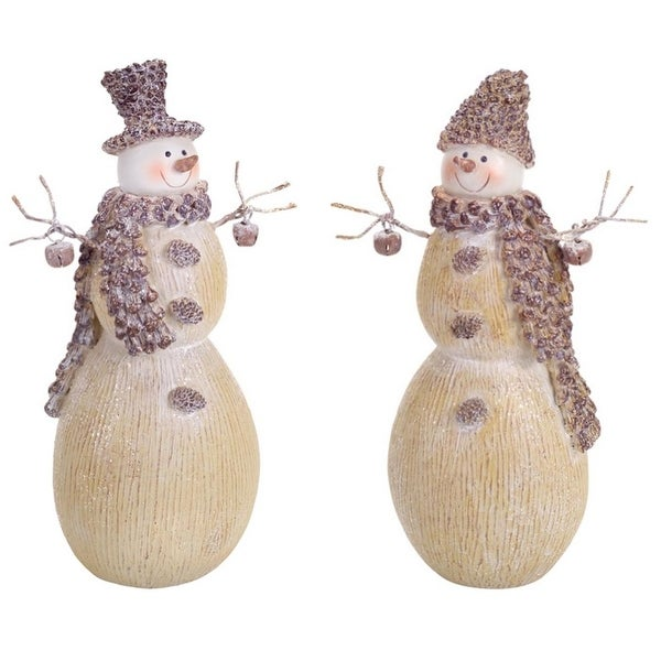 """Pack of 4 Frosted Beige Pine Cone Snowmen with Bells Table Top Christmas Decorations 9.5"""""""