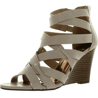Styluxe Effy-18 Womens Back Zipper Strappy Dress Sandal Wedge