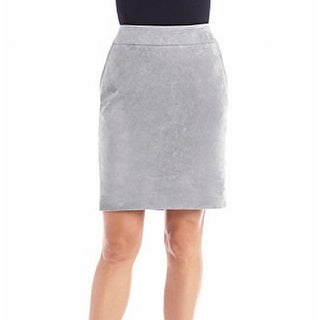 Calvin Klein NEW Gray Women 4P Petite Faux Suede Straight Pencil Skirt