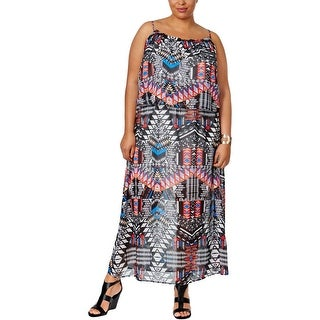 NY Collection Womens Plus Casual Dress Printed Maxi