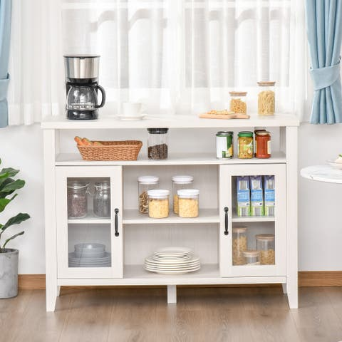 HOMCOM Rustic Style Sideboard Serving Buffet Storage Cabinet Cupboard with Glass Doors and Adjustable Shelves