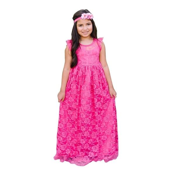 Think Pink Bows Baby Girls Pink Yarrow Neck Stella Flower Girl Dress 1Y