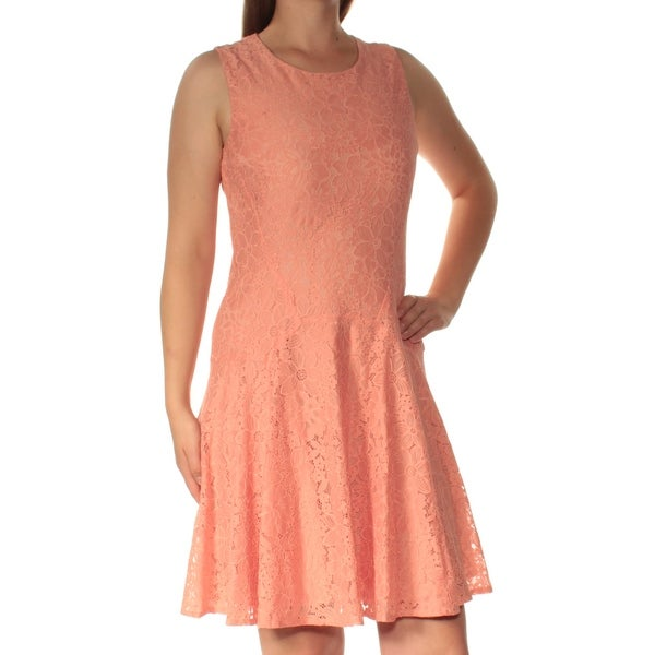 e0af76197d2 Shop TOMMY HILFIGER Womens Coral Lace Sleeveless Crew Neck Above The Knee  Fit + Flare Dress Size: 8 - Free Shipping On Orders Over $45 - Overstock -  ...