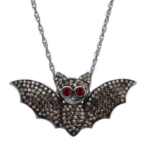 Bat Pendant with Crystals in Black Rhodium-Plated Sterling Silver
