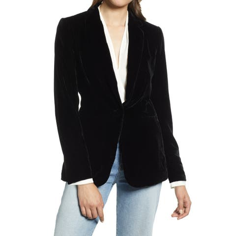 Halogen Women's Single-Button Velvet Blazer Jacket