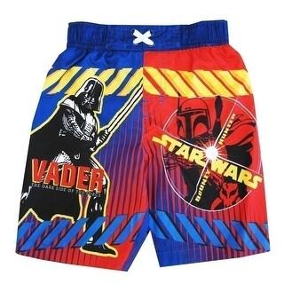 Star Wars Little Toddler Boys Royal Blue Red Darth Vader Swimwear Shorts 2-4T