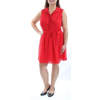 Womens Red Sleeveless Above The Knee Fit + Flare Cocktail Dress Size: XL
