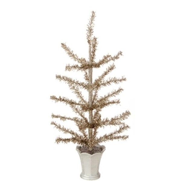 """12"""" Winter Light Gilded Grey Artificial Christmas Tinsel Tree in Glittered Silver Pot - Unlit"""