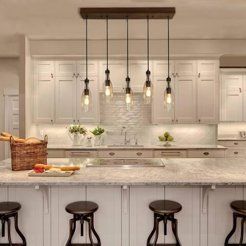 "LNC Wood 5-Light Glass Bottle Linear Kitchen Island Lighting - W33"" * E5.5"" * H11.2"""