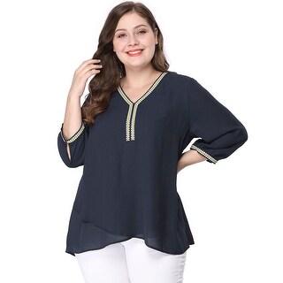Women's Plus Size Crisscross-hem Contrast Trim Chiffon Blouse - Blue