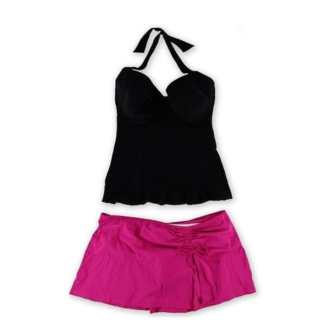 Profile Womens Starlet Ruched Skirtini 2 Piece Tankini - 40D