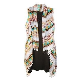 CTM® Women's Sheer Lightweight Tribal Print Vest Shawl with Tassels - tribal print - One Size