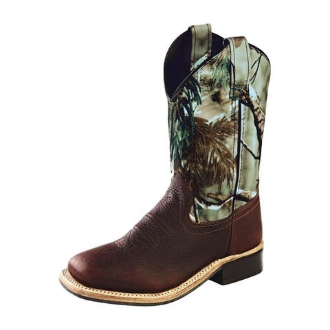 Old West Cowboy Boots Boys Leather Square Toe Thunder Oiled