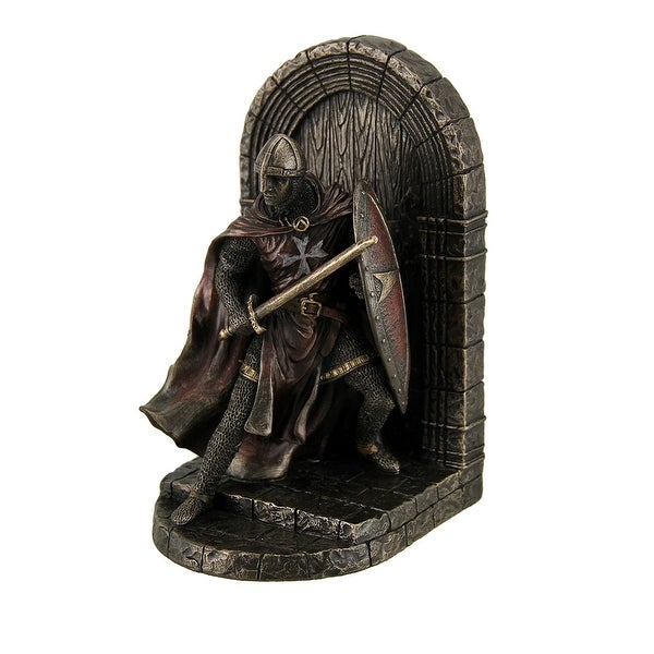 Maltese Crusader Statue in Armor Guarding Door Holding Shield & Sword Bookend