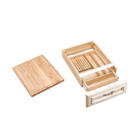 "Rev-A-Shelf 4KCB-21 4KCB Series Combination Knife Holder and Cutting Board for 21"" Base Cabinet - - Natural Wood"