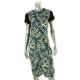 Zara Womens Floral Print Short Sleeves Wear to Work Dress