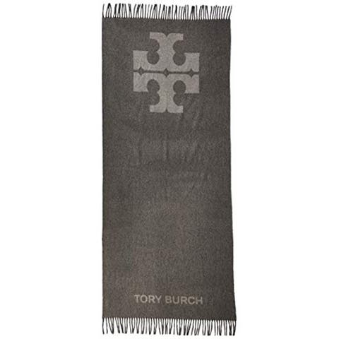 Tory Burch Womens Solid Gray Logo Oblong
