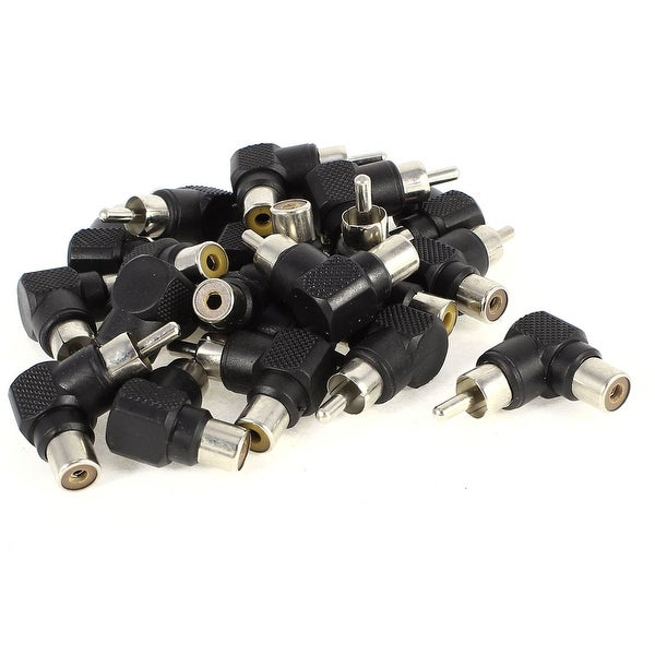 20 Pcs 90 Degrees Angle RCA Adapter Male to Female Joint Connector