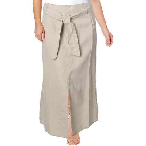 Lauren Ralph Lauren Womens Plus Maxi Skirt Split Long - Canyon Khaki