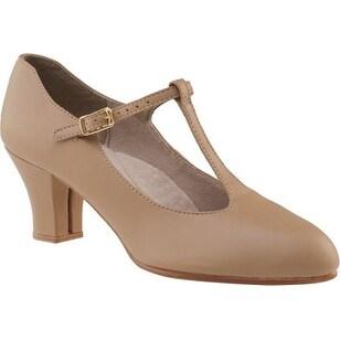 Capezio Womens Jr. Footlight T-Strap Character Shoe, Caramel, 9.5M