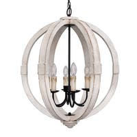 Bourges 6-Light Distressed Wooden Orb Chandelier