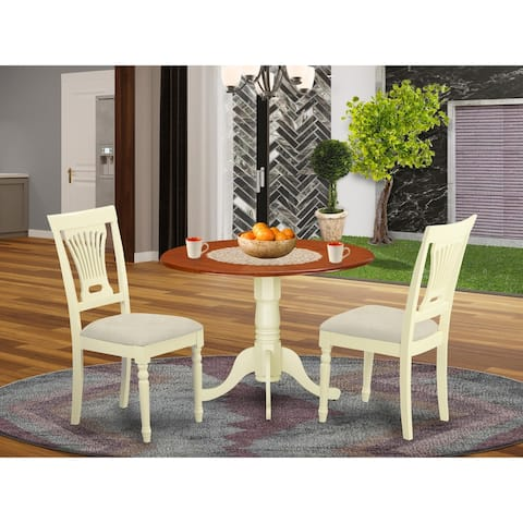 East West Furniture 3 PC Kitchen Set - Dining Table and 2 Kitchen Chairs in Buttermilk and Cherry Finish