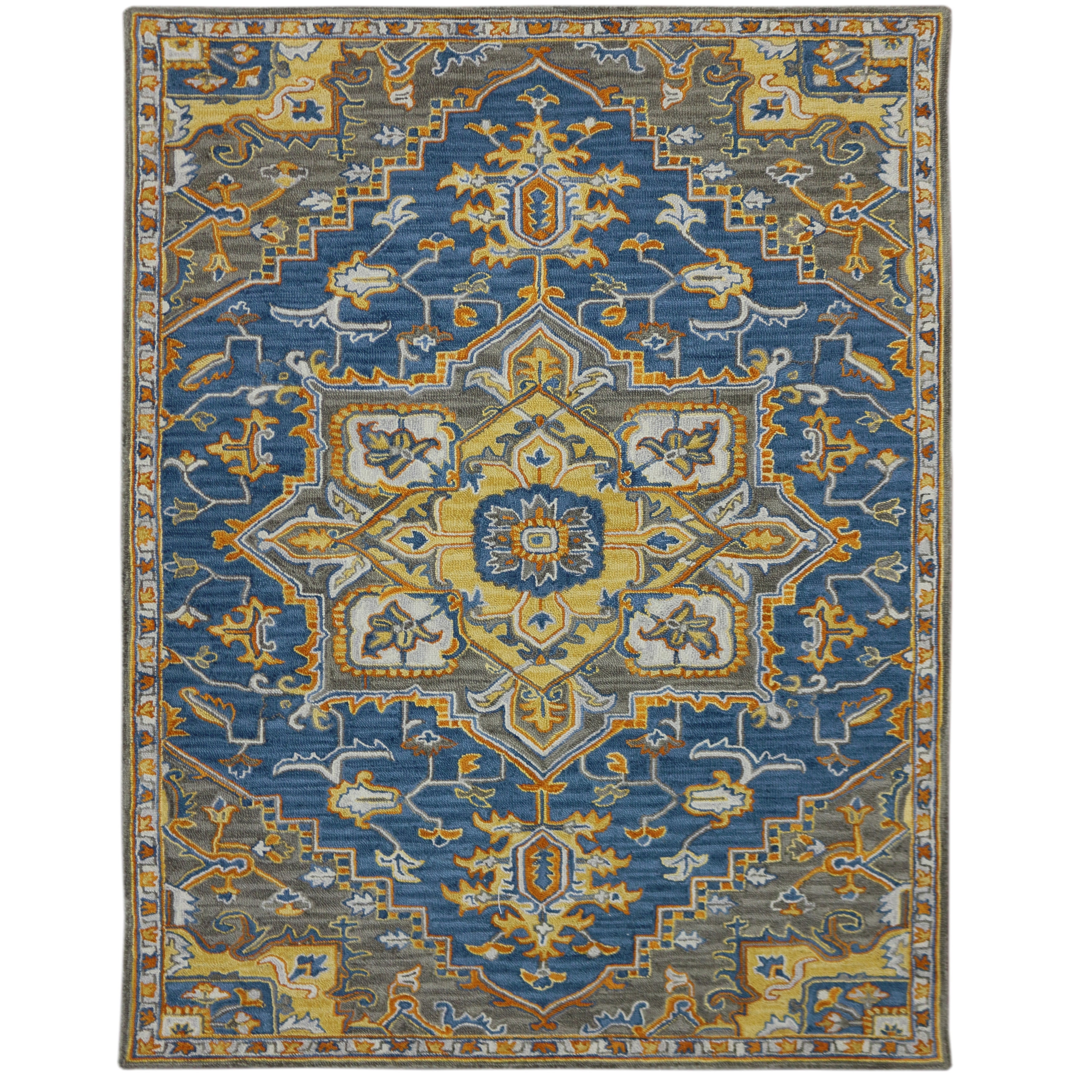 Picture of: Shop Calliope Medallion Hand Tufted Wool Blue Yellow Area Rug 5 X 8 5 X 8 Overstock 21919967