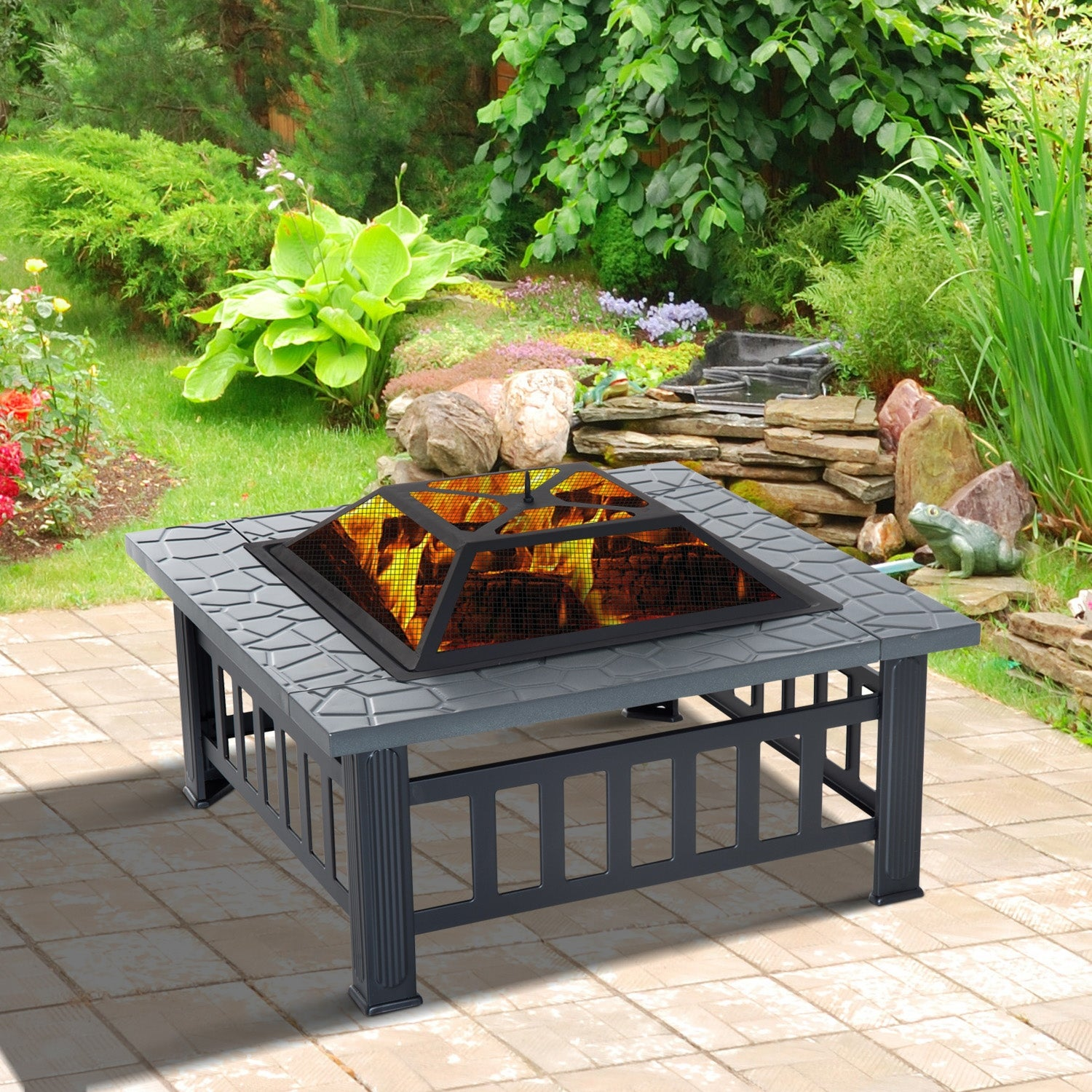 Outsunny 32 Steel Square Outdoor Patio Wood Burning Fire Pit Table Top Set Overstock 17990782