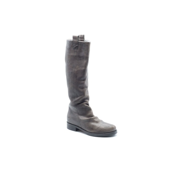Brunello Cucinelli Women Grey Pebble Leather Riding Boots