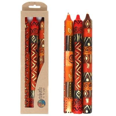 Handmade Taper Dinner Candles Bongazi Design Set of 3 (South Africa)
