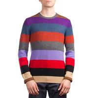 Prada Men's Cashmere Crewneck Striped Sweater Multicolor