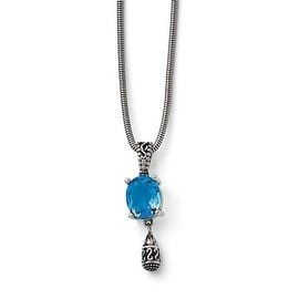 Chisel Stainless Steel Polished/Antiqued Blue Glass with 2 in ext. Necklace - 18.5 in