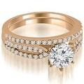 0.97 cttw. 14K Rose Gold Cathedral Split Shank Round Diamond Bridal Set - Thumbnail 0