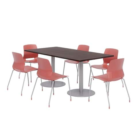 Olio Designs 6' x 3' Dining Table Set, 6 Lola Chairs, Espresso