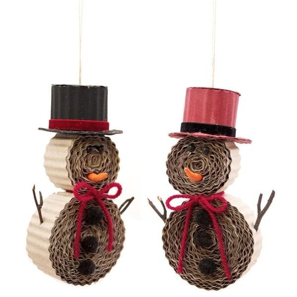 "Set of 8 Corrugated Cardboard Kraft Snowman Christmas Ornaments 7.75""H - black"