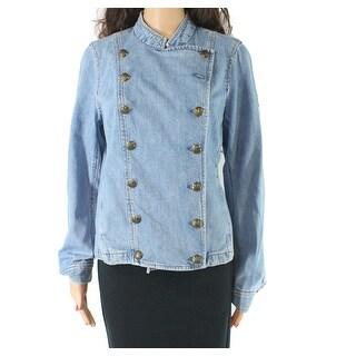 Lauren by Ralph Lauren Women Denim Jacket Blue Size 10 Double Breasted